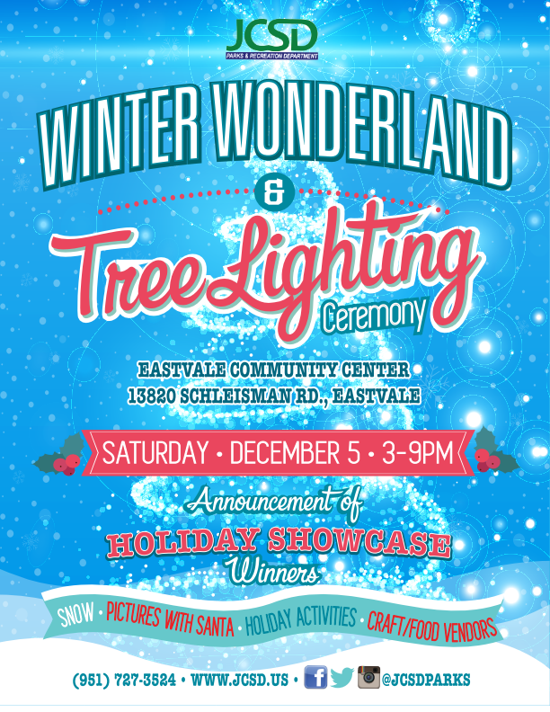 THE EASTVALE COMMUNITY CENTER WILL BE TRANSFORMED INTO A WINTER WONDERLAND WITH THE ARRIVAL OF SNOW AND SANTA CLAUS