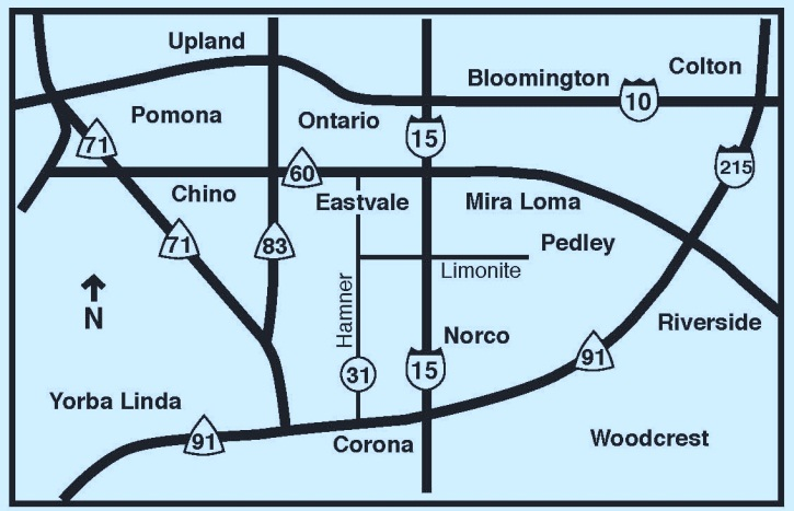 Eastvale Freeways Map