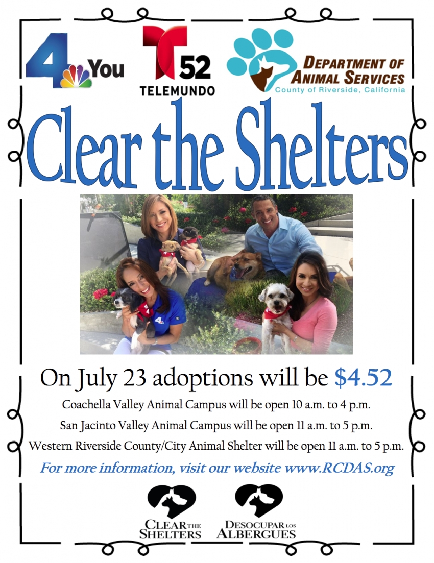 Join clear the shelters on july 23 2016