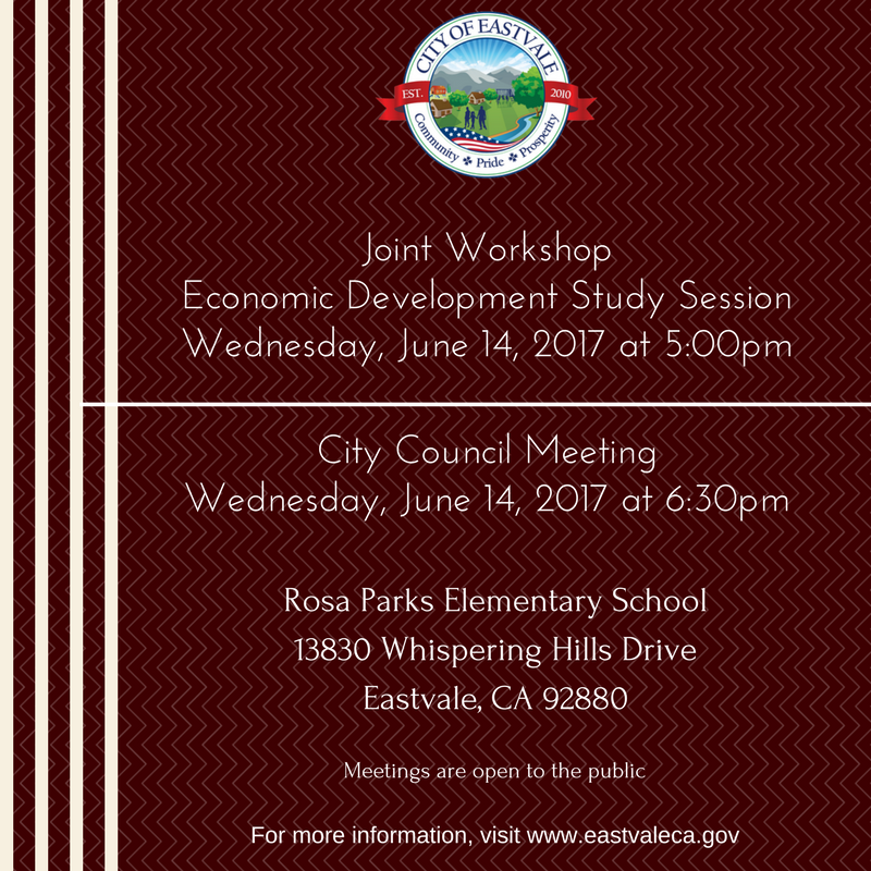 Eastvale City Council Special Workshop and Meeting