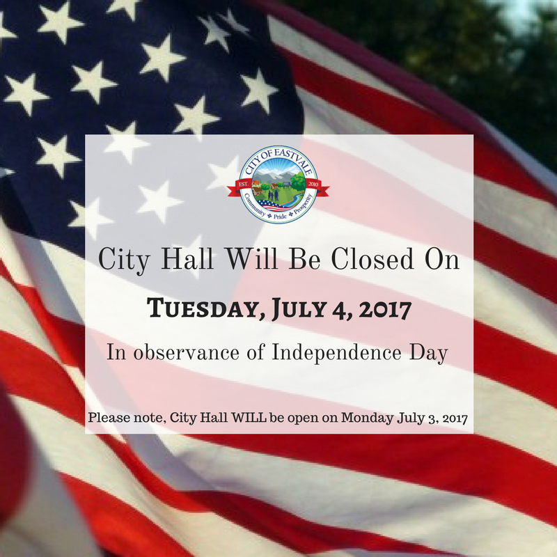 City Hall Closed on 4th of July