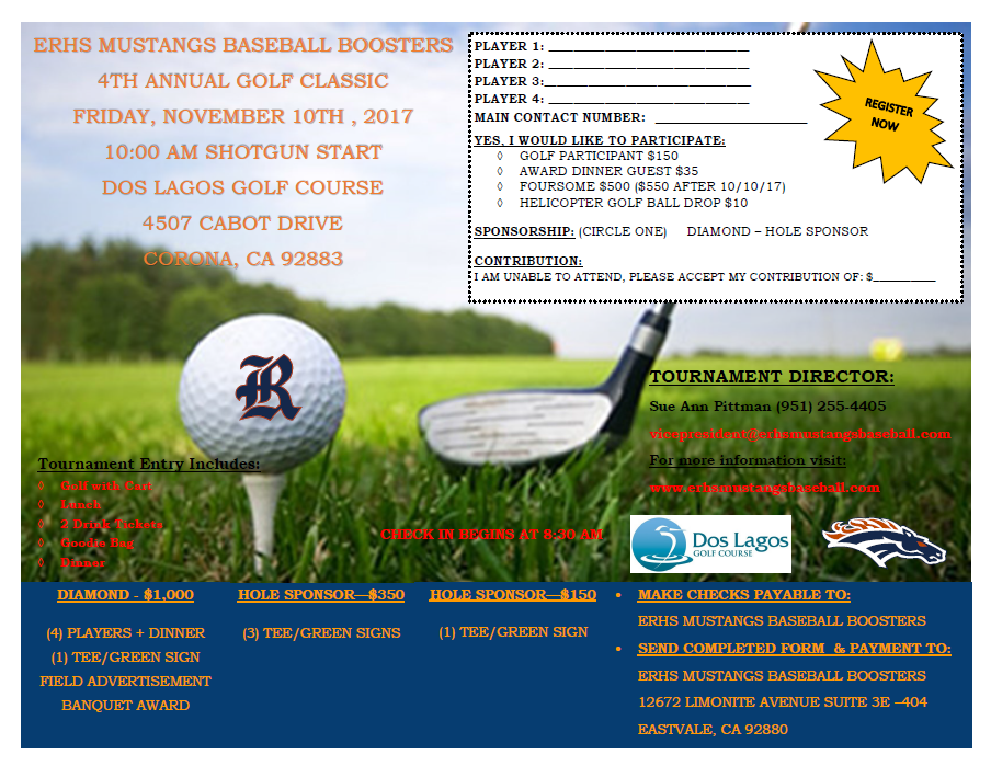 ERHS Baseball Boosters Flyer