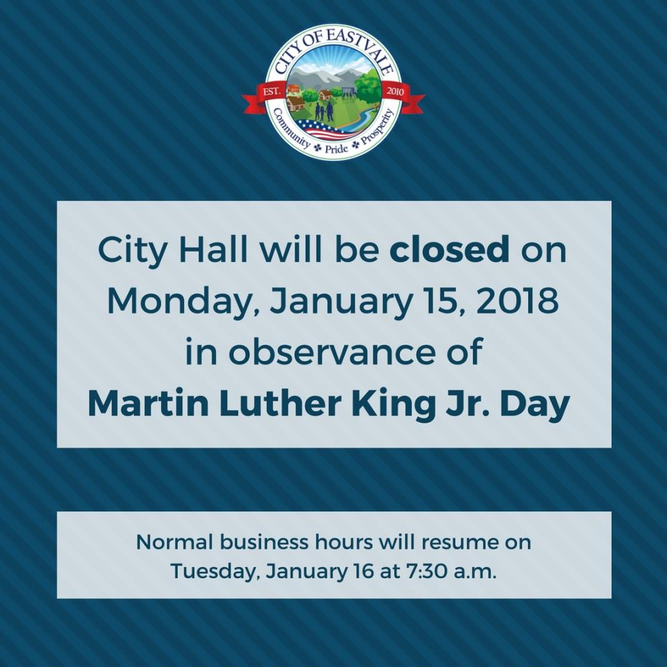 City Hall Closed - Martin Luther King Jr. Day