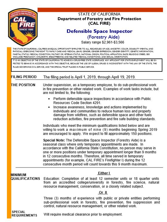 Defensible Space Inspector for Hire | News | City of