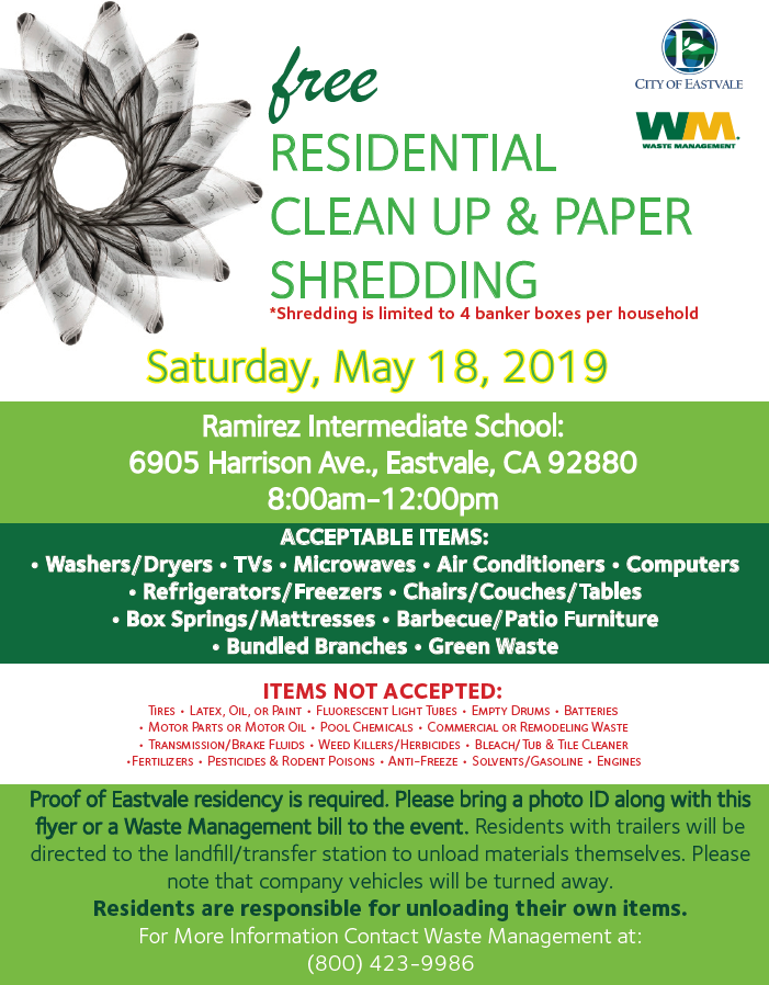 FREE Residential Clean Up & Paper Shredding | News | City of