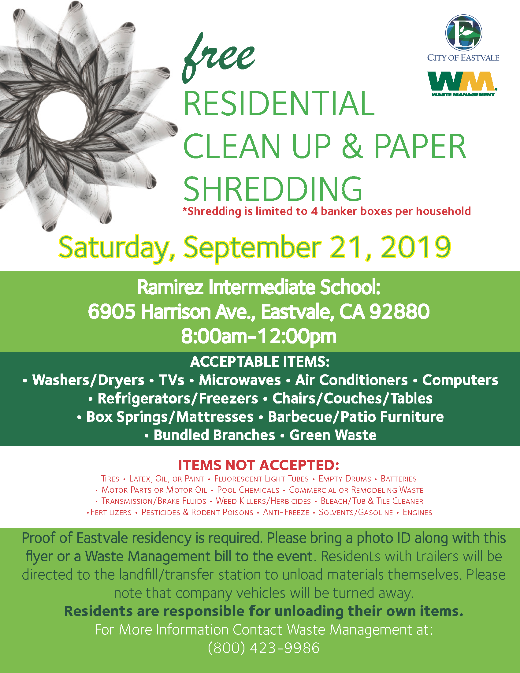 Eastvale Clean Up and Shred Event Sept. 21 2019