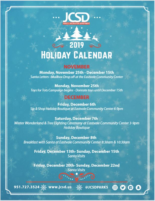 JCSD Holiday calendar